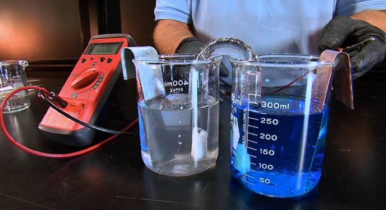 voltaic cell  zinc  copper electrochemcial cell e u00b0   1 10 v demonstration