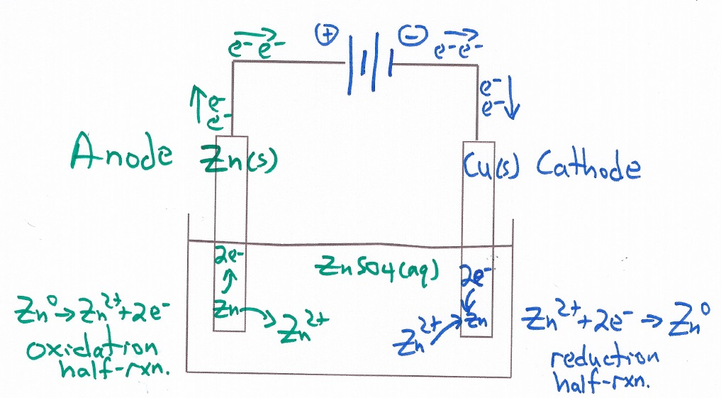 ZnCuElectrolysisCellDiagram   Example of student work   Class Activity
