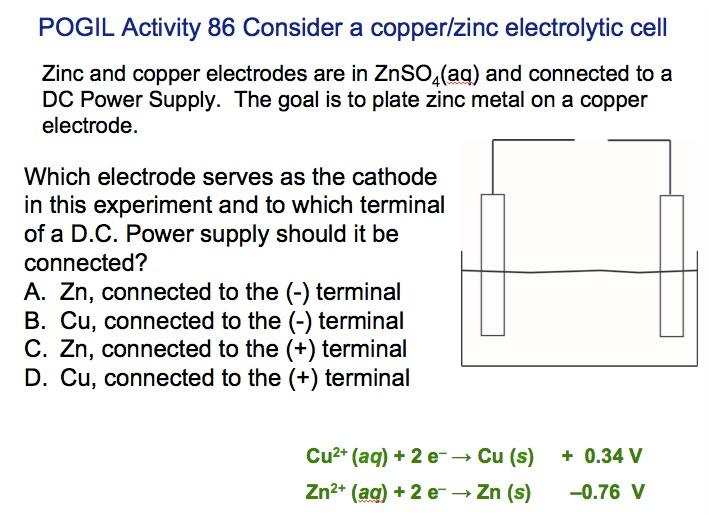 ZnCu Electrolysis Conceptual Question 16