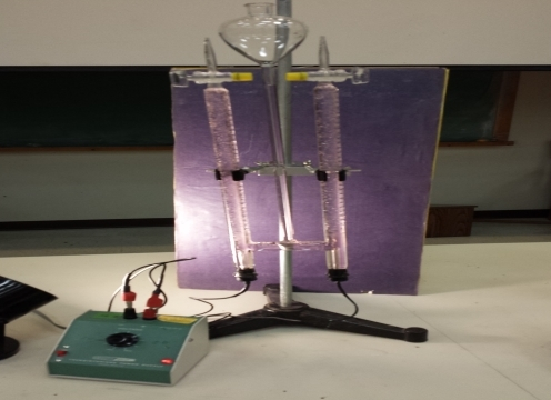 Electrolysis of Water. The decomposition of water into hydrogen gas and oxygen gas.  Demonstration